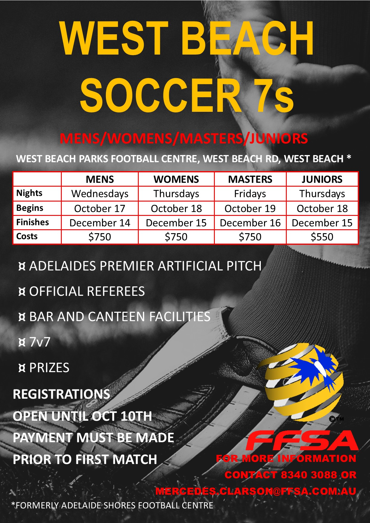 West Beach Soccer 7s Flyer 2018