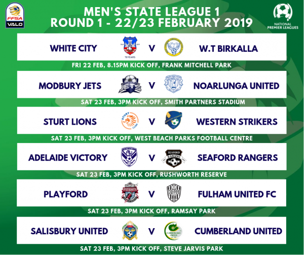 State League 1 Men's Round 1 Fixtures 2019