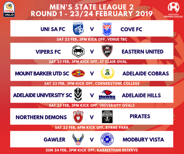 State League 2 Men's Round 1 Fixtures 2019