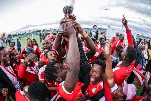 Liberian Men's Team Lifting the Trophy