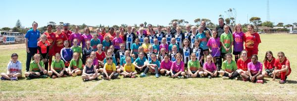 All the participants at the Bis regional girls football carnival